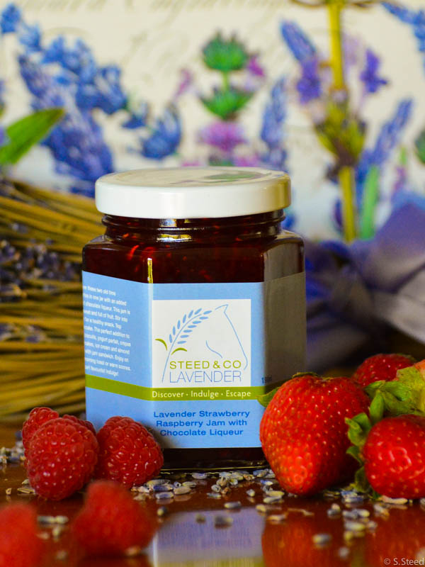 Lavender Raspberry Strawberry Jam with Chocolate Liqueur