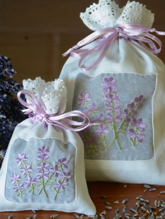 Embroidered Lavender Sachets from Steed and Company Lavender